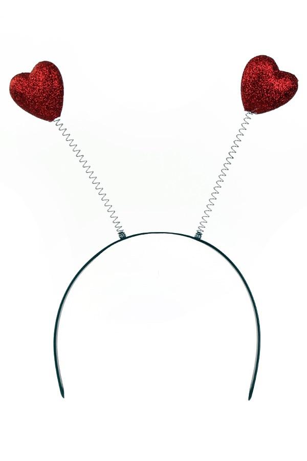 Diadeem 2 rode hartjes glitter 1
