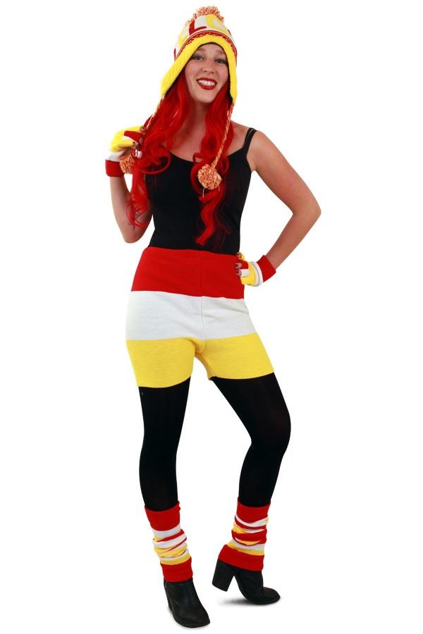 Gebreide onderbroek rood/wit/geel unisex 1