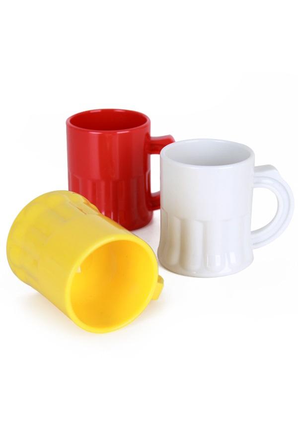 Shotglaasjes rood/wit/geel 2,5 cl