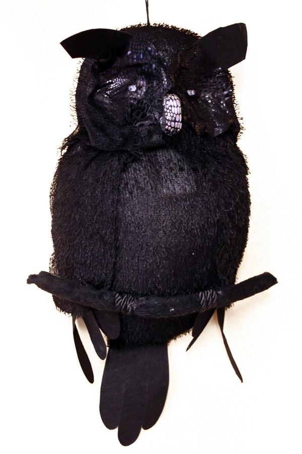 Horror uil met licht 48 x 35 cm