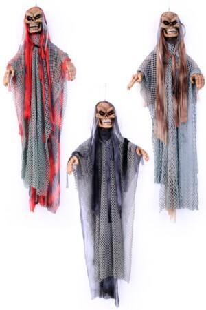 Horror skelet bewegend met licht en geluid 3 assorti