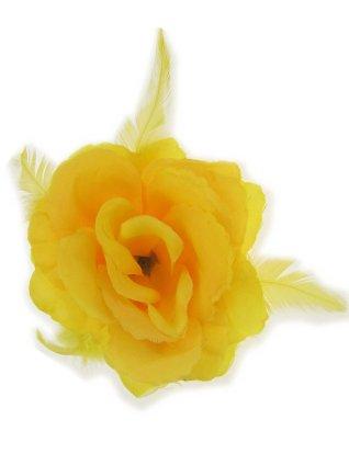 Bloemendecoratie veren geel 10x10cm 1