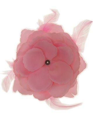 Bloemendecoratie veren baby roze 10x10cm 1
