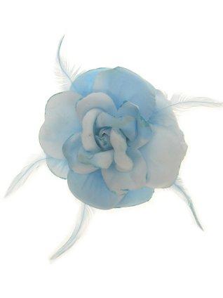 Bloem+glitters speld en elastiek licht blauw 1