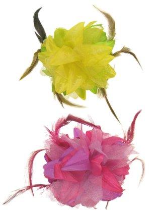 Bloemen haarklem roze/paars + geel/groen 1
