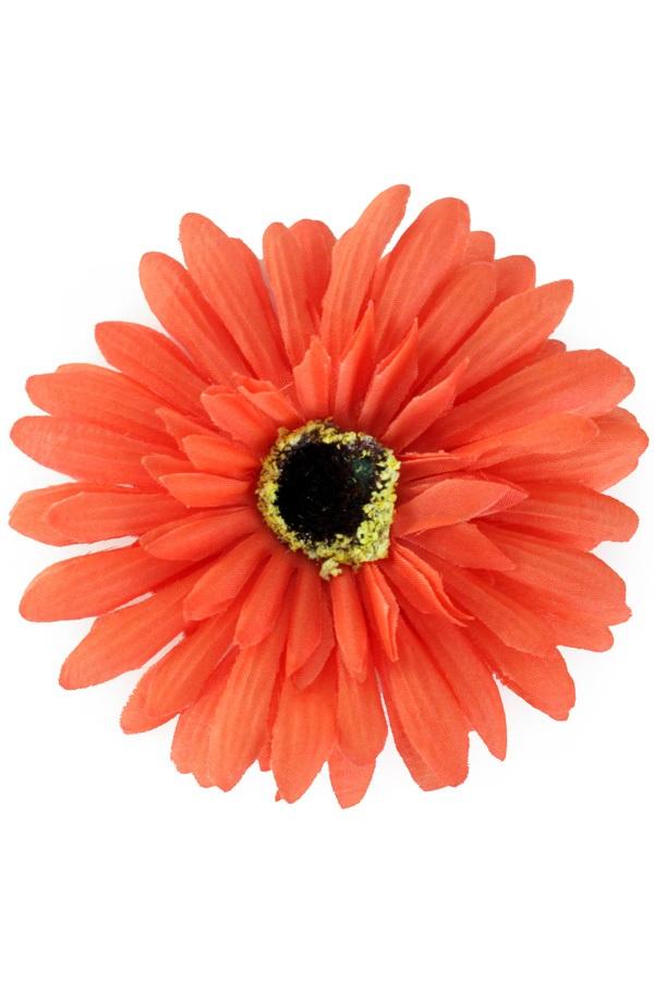 Bloem Gerbera oranje met pin en haarclip 1