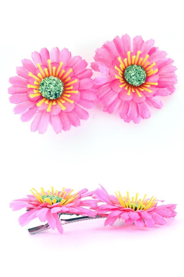 Haarclip met 2 Gerbera's roze 1