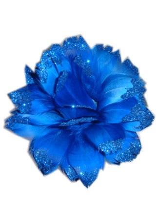 Bloem + glitter en ijzerdraad blauw 1