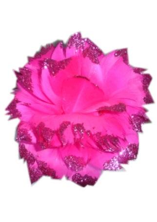 Bloem + glitter en ijzerdraad pink 1