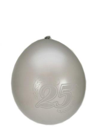 Jubileumballon 25 jaar metalic zilver per 8 32cm/11inch 1