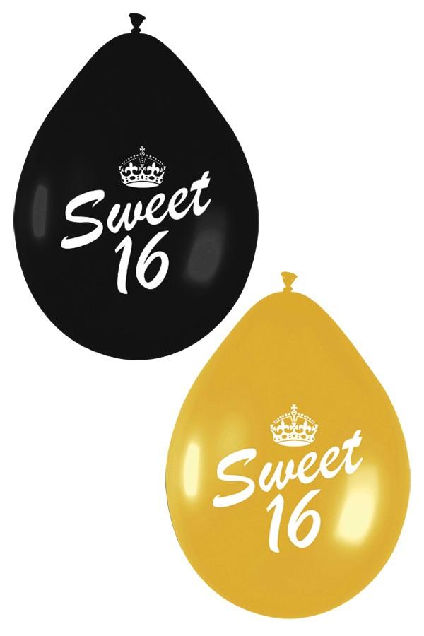 Ballonnen per 6 SWEET SIXTEEN zwart goud 1