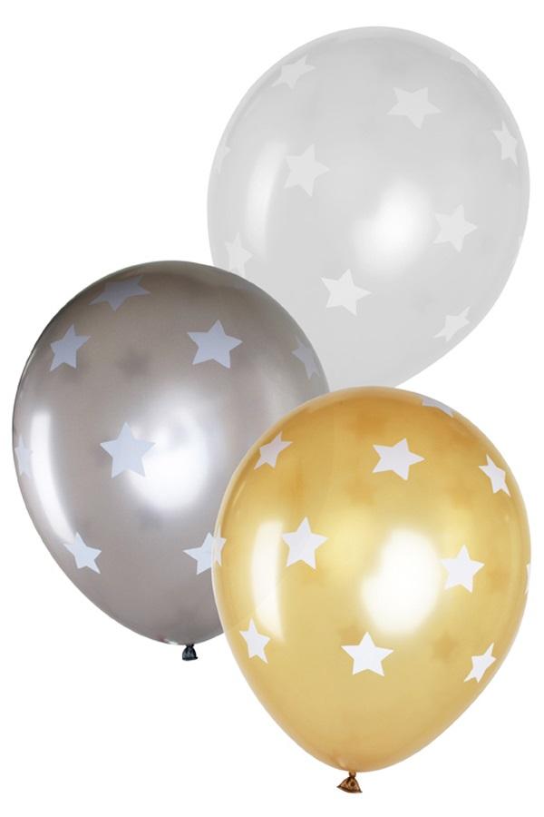 Ballonnen 14 inch per 6 metallic Sterren2 x Goud, 2 x zilver, 2 x kristal transparant 1