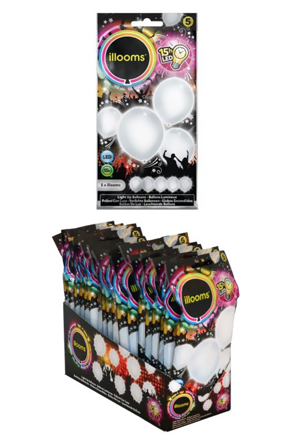 Led Balloons White  5 pack Ø23cmGlows for up to 15 hrs G3A batteries included 1