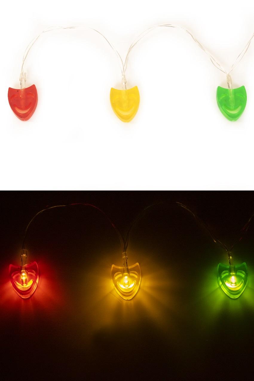 Lichtsnoer 12 maskers rood/geel/groen exclusief batterij 1