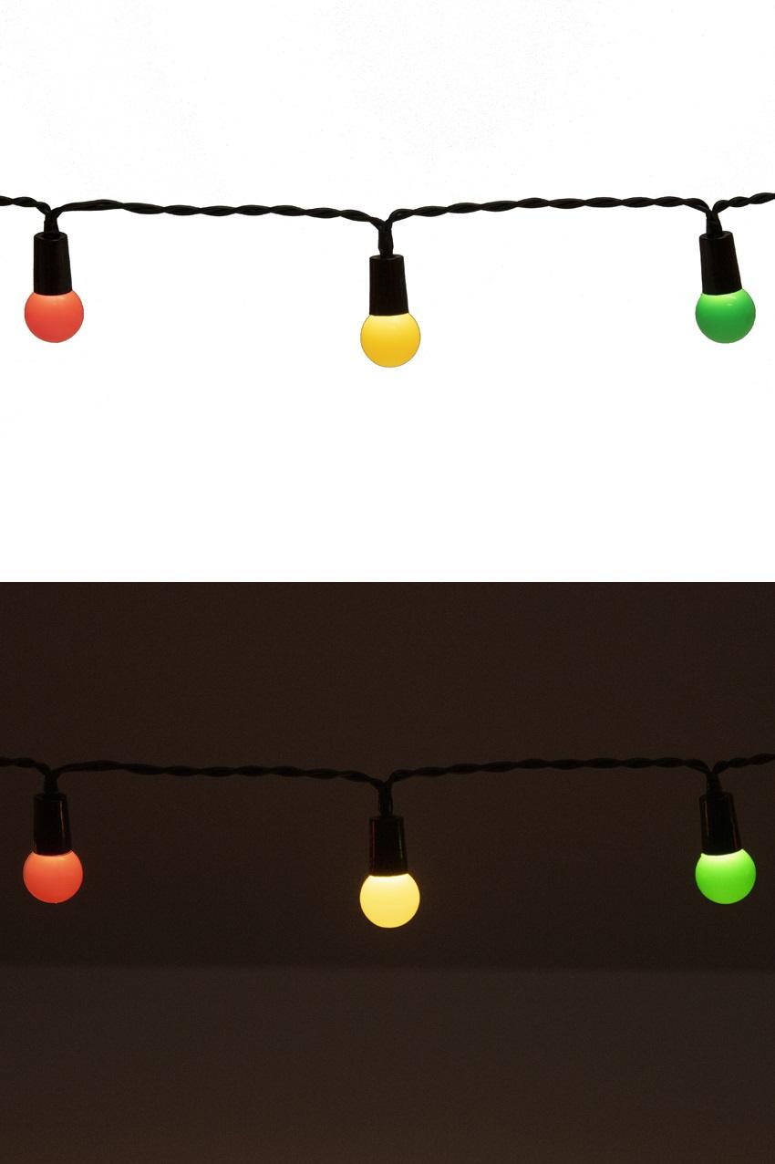 Verlichtingssnoer rood/geel/groen met 50 lampjes 6 meter, dia 1,7 cm 1