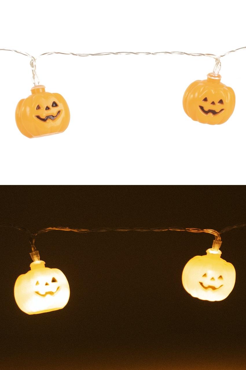 Verlichtingssnoer 160 cm voorzien van 10 lampen pompoen van 4 cm ø exclusief 2 x AA batterij 1
