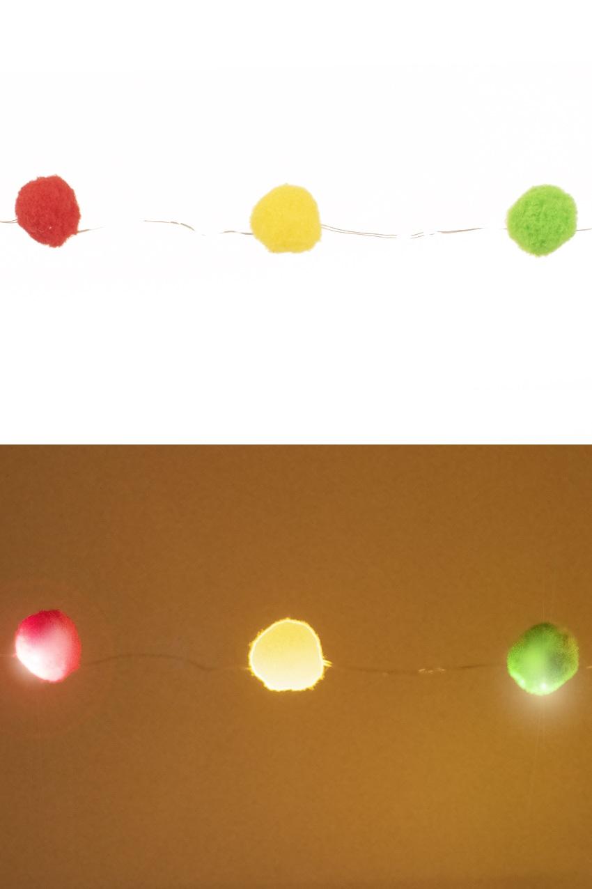 Verlichtingsnoer 20 bollen 25 mm rood/geel/groen exclusief 3 x AA batterij 1