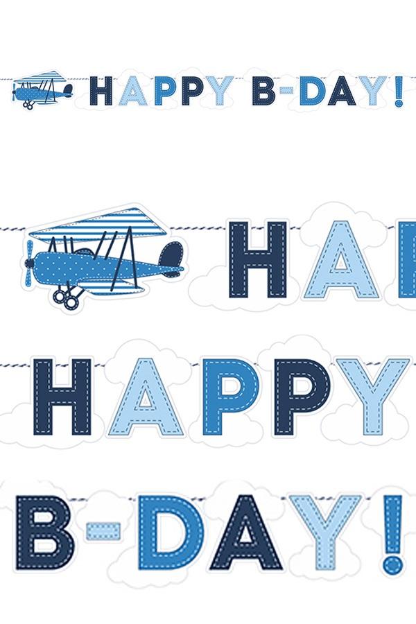 Vlaggenlijn Happy B-Day blauw vliegtuig 173 cm