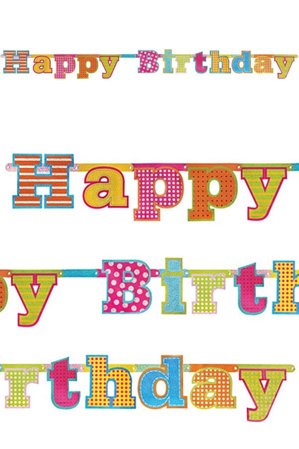 Vlaggenlijn Happy Birthday metallic glitter 166 cm