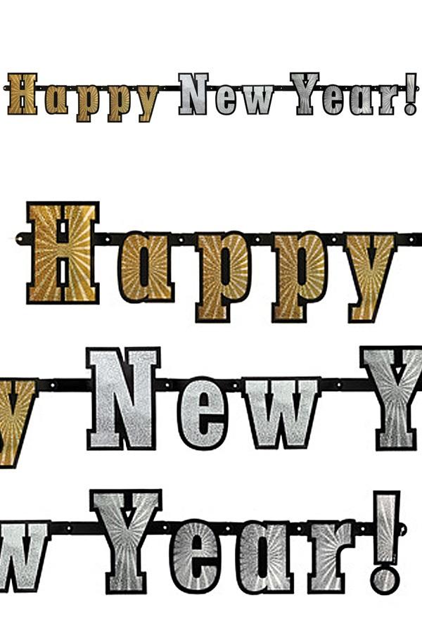 Vlaggenlijn Happy New Year metallic glitter 142 cm