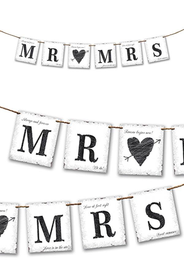 Vlaggenlijn Mr & Mrs 77 cm