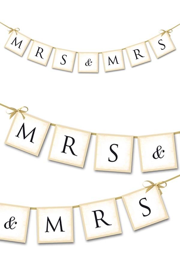 Vlaggenlijn Mrs & Mrs 90 cm