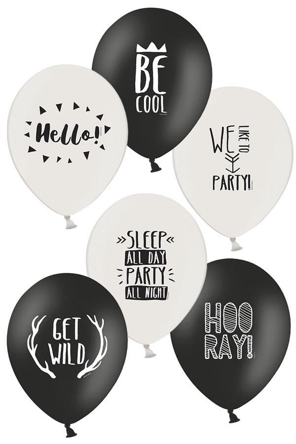 Ballonnen Party zwart/wit 30 cm