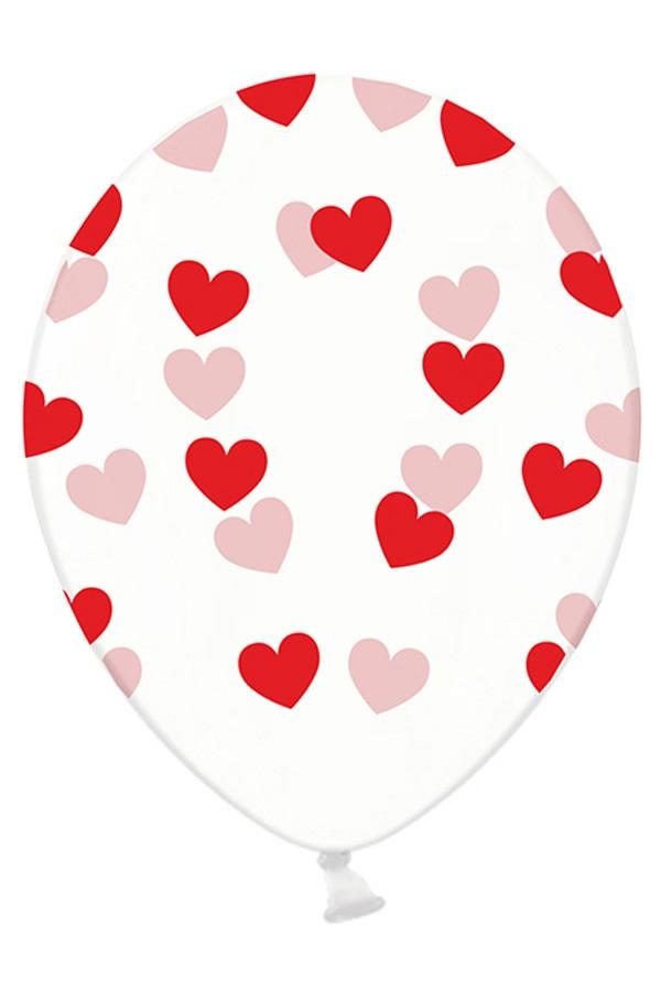 Ballonnen doorzichtig met rode hartjes 30 cm