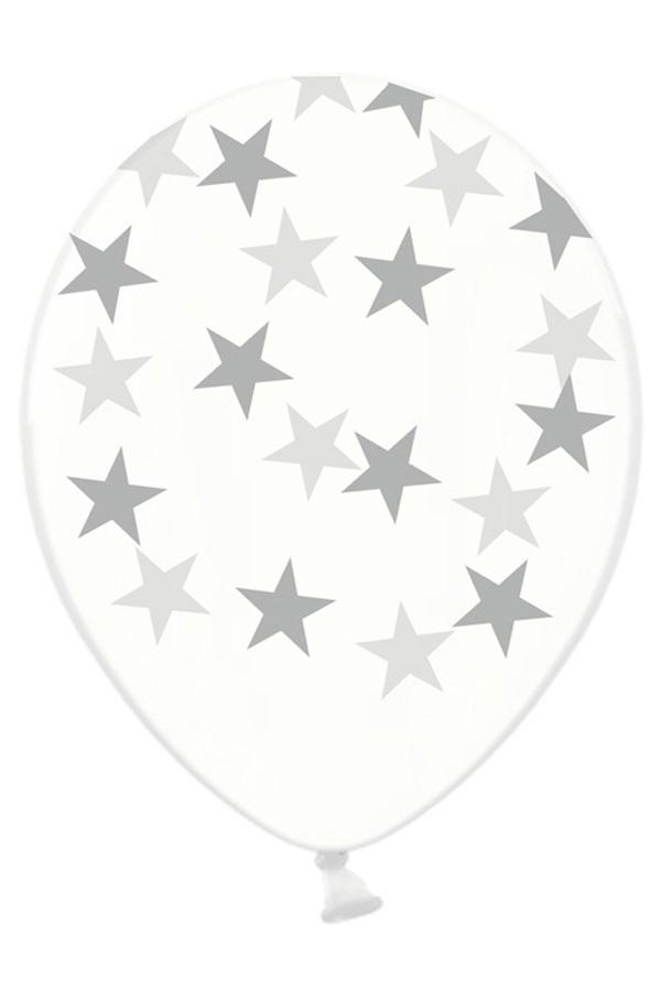Ballonnen doorzichtig met sterren zilver 30 cm