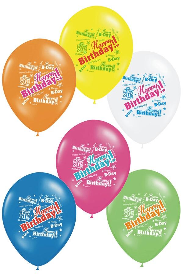 Ballonnen Happy Birthday bonte kleuren 30 cm