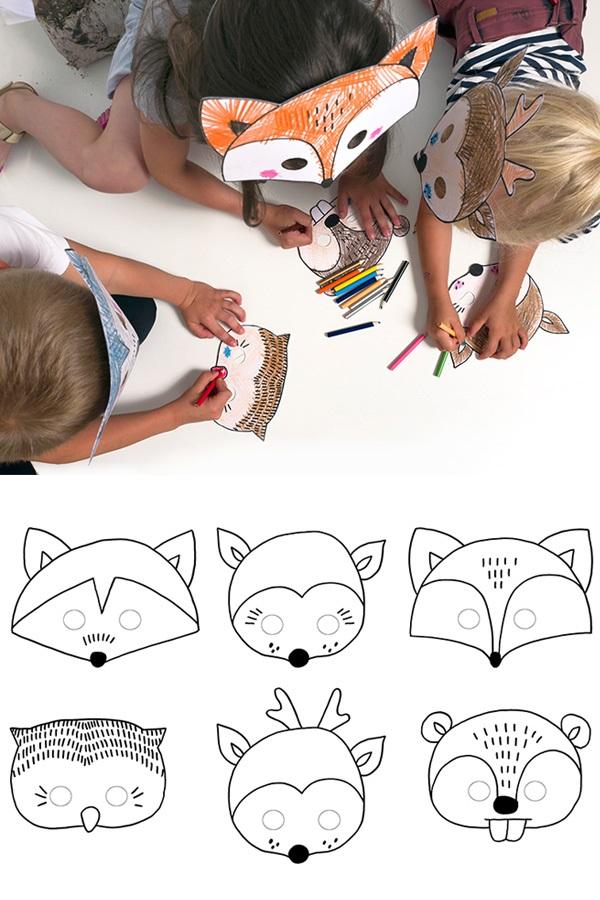 Maskers dieren DIY papier 6 st