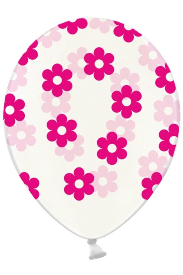 Ballonnen doorzichtig met bloemen pink 30 cm