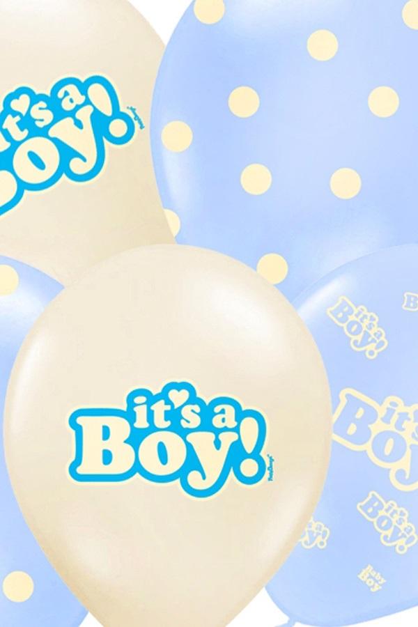 Ballonnen mix pastel wit/blauw It's a Boy 30 cm