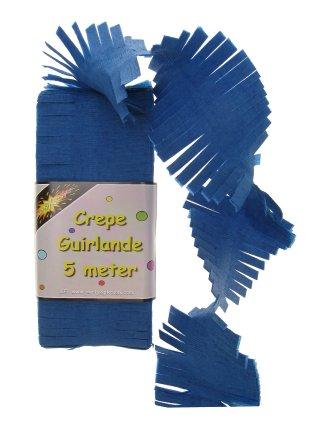 Crepe guirlande blauw 5 mtr