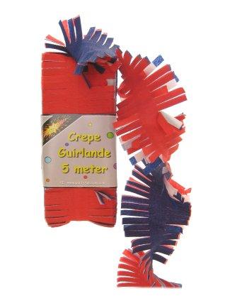 Crepe guirlande rood/wit/blauw 5 mtr