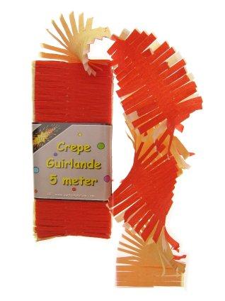 Crepe guirlande rood/wit/geel 5 mtr