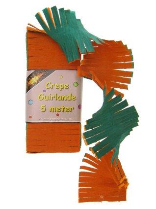 Crepe guirlande oranje/groen 5 mtr