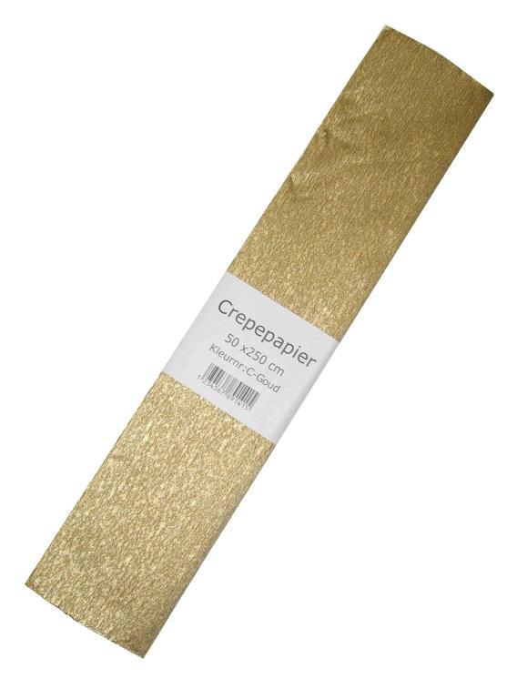 Crepe papier goud 250 x 50 cm