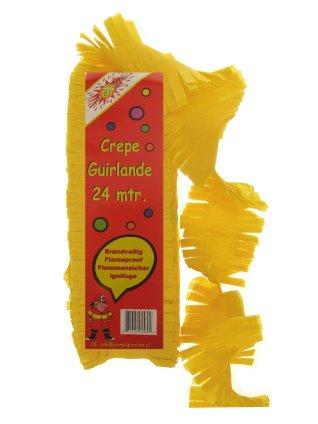 Crepe guirlande brandveilig geel 24 mtr