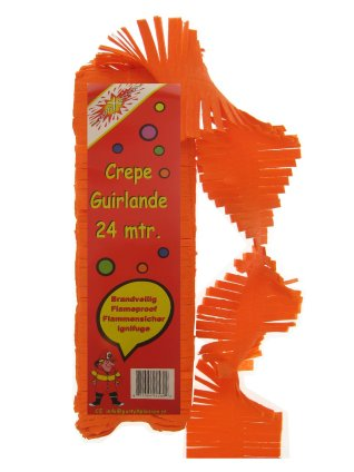 Crepe guirlande brandveilig oranje 24 mtr