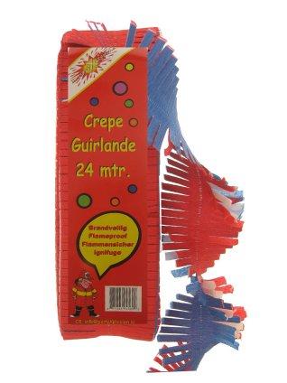 Crepe guirlande brandveilig rood/wit/blauw 24 mtr