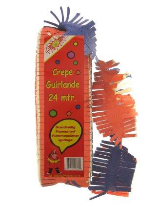 Crepe guirlande brandveilig rood/geel/blauw 24 mtr