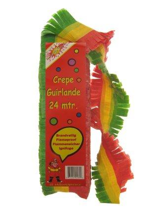 Crepe guirlande brandveilig rood/geel/groen 24 mtr