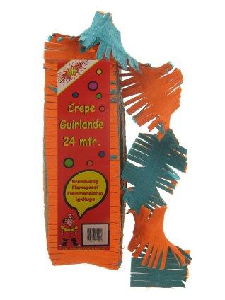 Crepe guirlande brandveilig oranje/groen 24 mtr