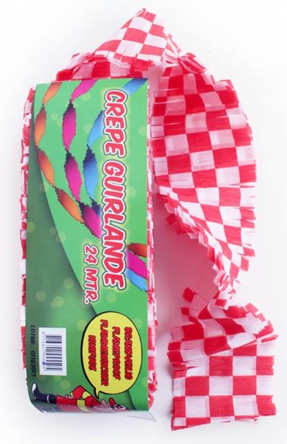 Crepe guirlande brandveilig rood/wit geblokt 24 mtr