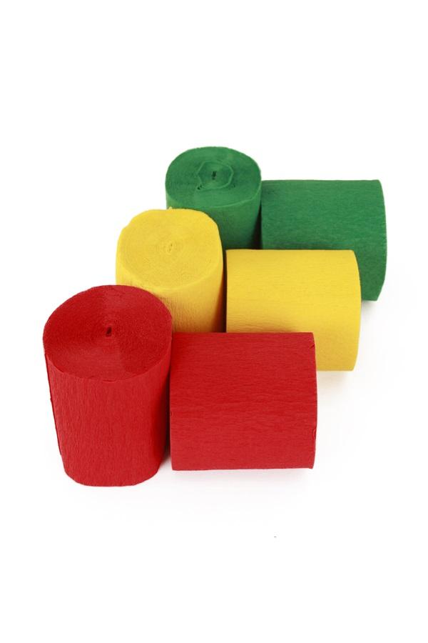 Crepe rollen rood geel groen 6 stuks in z.b