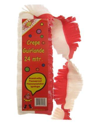 Crepe guirlande rood/wit 24 mtr