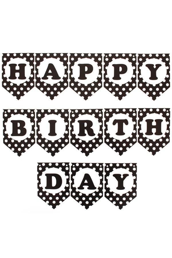 Happy Birthday guirlande zwart/wit 1