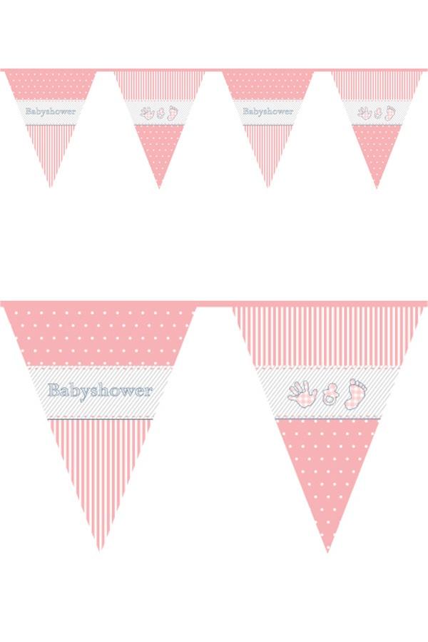 Vlaggenlijn pe 10 m BABYSHOWER meisje 1