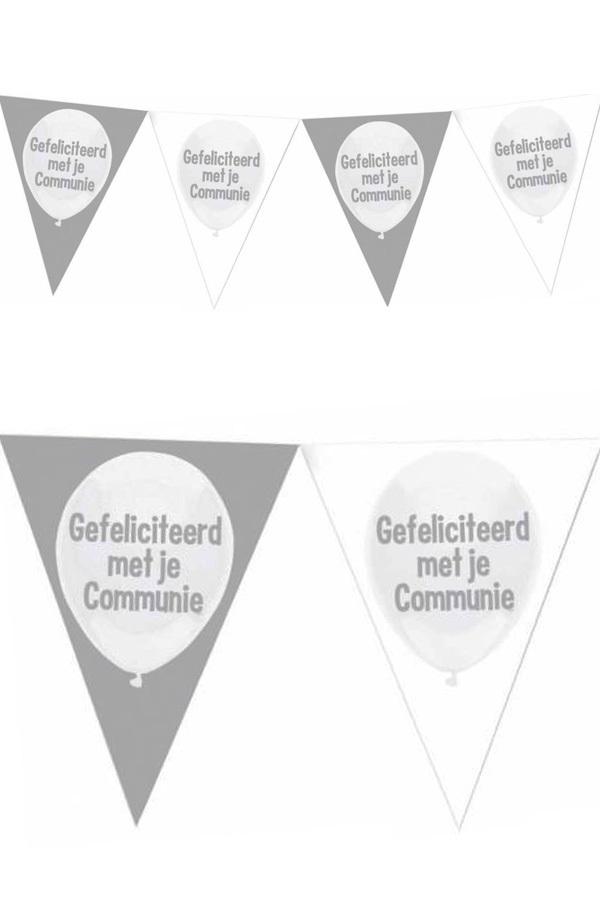 Vlaggenlijn zilver wit Gefeliciteerd met je communie 1